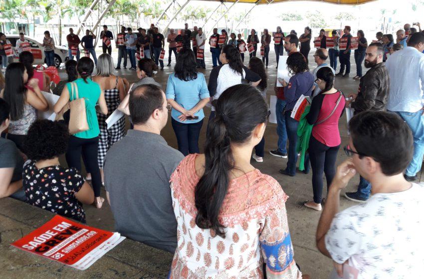 Em greve, servidores de senador Canedo realizam manifestação nesta sexta (12)