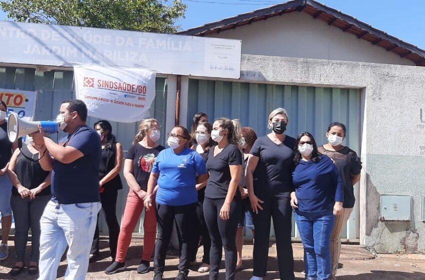 Sindicato participa de manifestação contra o fechamento da unidade de saúde do Mariliza
